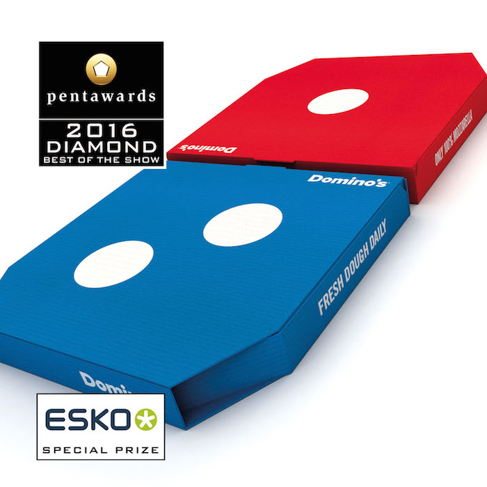 The prestigious Diamond Pentaward, 2016 Best of Show was won by the London-based agency Jones Knowles Ritchie, for the new boxes of the famous home delivery Domino's pizza.
